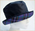 Navy Wax Hat with Lavender Plaid Medium Underbrim