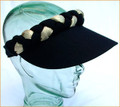 Black with Gold Jumbo Peak Plaited Sun Visor