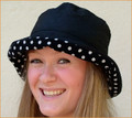 Black Wax Hat with White Spots on Black MedIum Brim