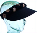 Black with Animal Print Jumbo Peak Plaited Sun Visor