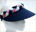 Navy Jumbo Peak Union Jack Plaited Visor