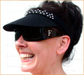 Black Clip On Sun Visor with Swarovski Crystals