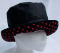 Black Wax Hat with Red Spotted Large Brim