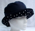 Navy Wax Hat with White Spotted Large Brim
