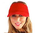 Red Acrylic Knitted Peak Visor