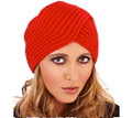 Red Acrylic Chunky Knit Turban Hat