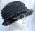 Grey Ruched Hat with Faux Fur Brim