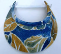 Blue and Mustard Leaf Pattern Jumbo Peak Flexi Visor