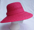 Fuschia Straw Sun Hat with Bow