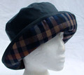 Navy Wax Hat with Blue-Camel Check Brim