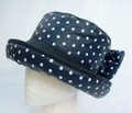 Navy with White Spots and Bow Wax Hat