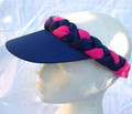 Navy Lycra and Cerise Plaited Visor