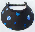 Black Jumbo Peak Flexi Visor with Electric Blue Spots