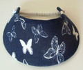White Butterflies on Navy Jumbo Peak Flexi Visor