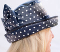 Navy Wax White Spotted Hat with Bow