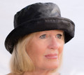 Black Wax Hat with Stitched Stiffened Brim