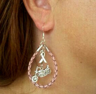 Steel Cowgirl Pink Leather Breast Cancer Awarness Earrings