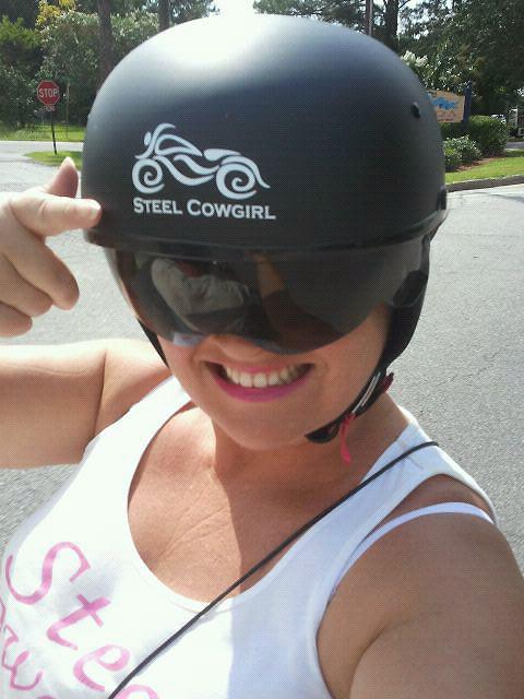 Steel Cowgirl RED  Womens Motorcycle Helmet Decal - Motorcycle helmet decal