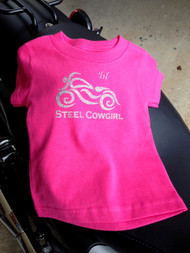 'lil Steel Cowgirl Little Girl's Motorcycle Shirt (graphics protected by copyright laws, unauthorized use is prohibited)