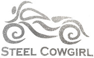 "Glitter Silver Steel Cowgirl Motorcycle Helmet Decal 3""  (protected by copyright laws, unauthorized use is prohibited)"