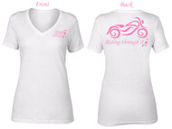 "Breast Cancer ""Riding Through It"" White Motorcycle V-Neck T-Shirt by Steel Cowgirl"