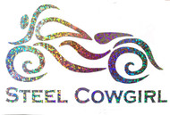Steel Cowgirl Glitter Multi Motorcycle Helmet Decal / Sticker