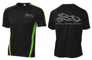Steel Horse Rider Mens Black/Lime Shock Wicking REFLECTIVE Short Sleeve Motorcycle Shirt  (Graphics protected by copyright laws, unauthorized use is prohibited)