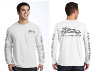 Steel Horse Rider REFLECTIVE GRAPHICS White Long Sleeve Motorcycle T-Shirt (graphics are protected by copyright laws, unauthorized use is prohibited)