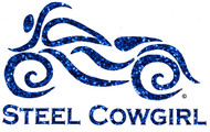 """5"""" Steel Cowgirl Glitter Blue Window Decal / Sticker (Protected by copyright laws, unauthorized use is prohibited)"""