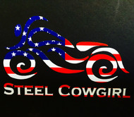 "4"" American Flag Motorcycle Window Decal / Sticker by Steel Cowgirl (graphics are protected by copyright laws, unauthorized use is prohibited)"