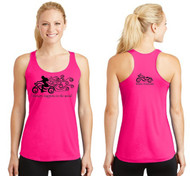 Wicking Racerback Neon Pink Therapy Happens In The Wind Motorcycle Tank (Graphics are protected by copyright laws, unauthorized use is prohibited)