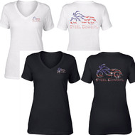 Sparkling Crystal Steel Cowgirl American Flag Motorcycle Short Sleeve V-Neck T-Shirt (Graphics are protected by copyright laws, unauthorized use is prohibited)