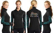 Paisley Motorcycle Wicking Thumbhole Black Shirt by Steel Cowgirl  (graphics are protected by copyright laws, unauthorized use is prohibited)