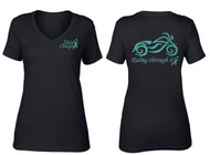 """Riding Through It"" Ovarian Cancer Black Motorcycle V-Neck T-Shirt by Steel Cowgirl (Graphics are protected by copyright laws, unauthorized use is prohibited)"