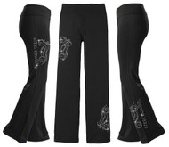 Sparkling Crystal Steel Cowgirl Motorcycles on Black Wicking Yoga / Lounge Pants (graphics are protected by copyright laws, unauthorized use is prohibited)