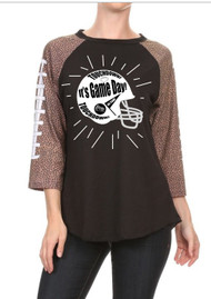 GAME DAY Football Raglan Shirt by Steel Cowgirl  * GRAPHICS ARE PROTECTED BY COPYRIGHT LAWS, UNAUTHORIZED USE IS PROHIBITED