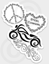 Peace, Love & Motorcycles Decal / Sticker by Steel Cowgirl  (Graphics are protected by copyright laws, unauthorized use is prohibited)