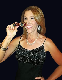 woman with burgundy opera glasses