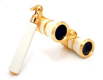 Opera Glasses- White w/ Handle