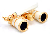 Opera Glasses w/ Lorgnette Handle - White & Gold