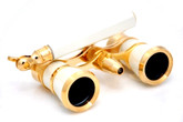 White &amp; Gold Opera Glasses w/ Lorgnette Handle + Reading Light