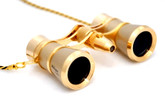 Opera Glasses-  Titanium / Gold w/ Chain + Flashlight