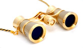 Opera Glasses-  Titanium / Gold  w/ Chain