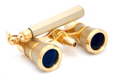Titanium &amp; Gold Opera Glasses w/ Lorgnette Handle + Reading Light