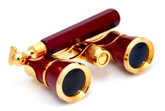 Burgundy &amp; Gold Opera Glasses w/ Lorgnette Handle