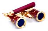 Opera Glasses w/ Lorgnette Handle & Reading Light - Burgundy & Gold