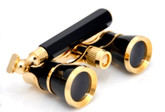 Opera Glasses w/ Lorgnette Handle - Black & Gold