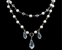 Champagne Pearl & Clear Teardrop Crystal Necklace (ivory)