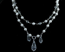 Bright White Pearl & Clear Teardrop Crystal Necklace on silver