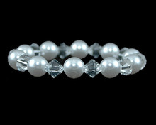 White Pearl and Clear Crystal Bracelet